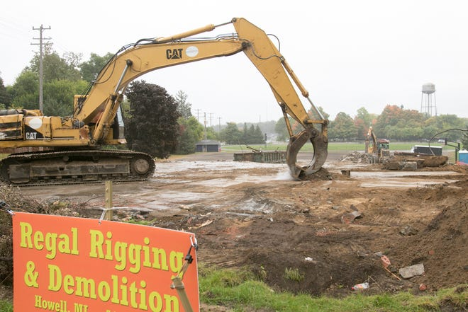 The former Barnard Community Center is demolished Monday, Sept. 28, 2020.