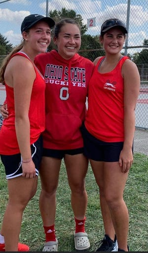 Grace Mahek (left), Sadie Smith (center) and Raegan Gurney won No. 1, No. 2 and No. 3 singles, respectively, to help Shelby win the Mid-Ohio Athletic Conference that concluded on Saturday at Shelby