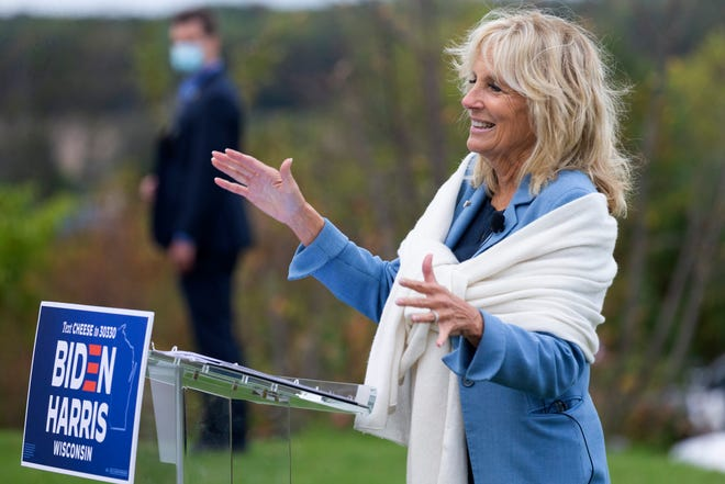 Jill Biden during a September, 2020 campaign appearance in Eagle, Wis.