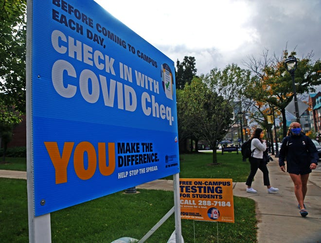 A sign is posted on the campus of Marquette University at the corner of 15th and Wells street for COVID-19 awareness and testing on Monday, Sept. 29, 2020.