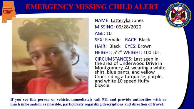 Latteryka Jones was last seen in the area of Underwood Street about 10 a.m. riding a Huffy 10-speed bicycle.