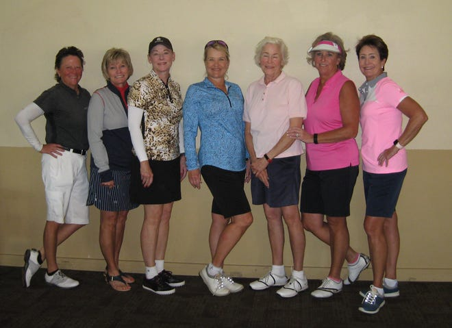 Left to right: Lauren Brown, Jackie Goupil, Carolyn Daugherty,  Sue Sprouse, Stuart Blackshear, Marsha Hilcher and Theresa Massey pose following the Kachina Knot tournament at the Alto Lakes Golf Club on Sept. 23. Brown, Goupil, Daughtery and Sprouse took first place as a team and Blackshear, Hilcher, Massey and  Denise Bower (not shown) took second place in the first flight.