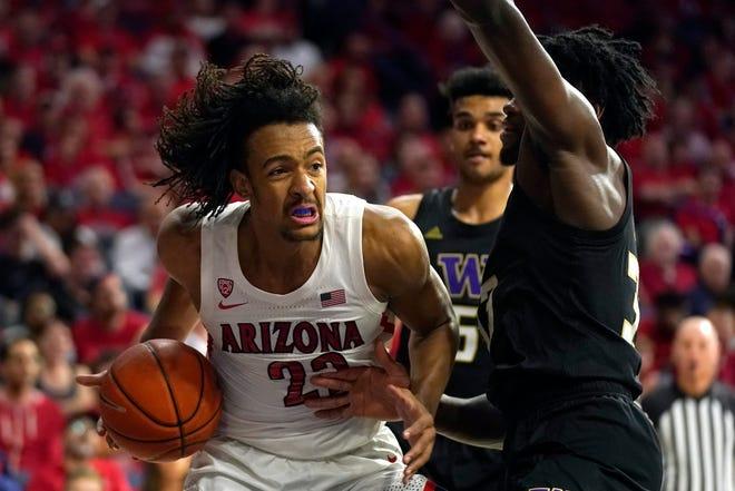 Arizona forward Zeke Nnaji (22) during the first half of an NCAA college basketball game against Washington Saturday, March 7, 2020, in Tucson, Ariz. (AP Photo/Rick Scuteri).