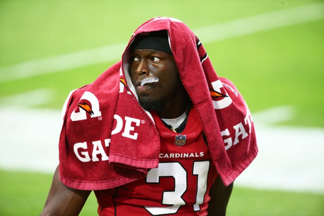 Sep 27, 2020; Glendale, Arizona, USA; Arizona Cardinals free safety Chris Banjo (31) leaves the game with an injury against the Detroit Lions in the first half at State Farm Stadium. Mandatory Credit: Rob Schumacher/The Arizona Republic via USA TODAY NETWORK