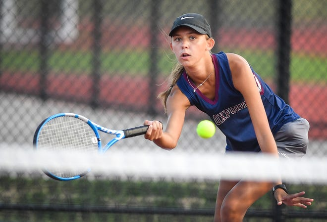 Kayla Hoffman, seen here in a file photo, earned a key three-set victory for New Oxford on Wednesday at No. 2 singles against Dallastown.