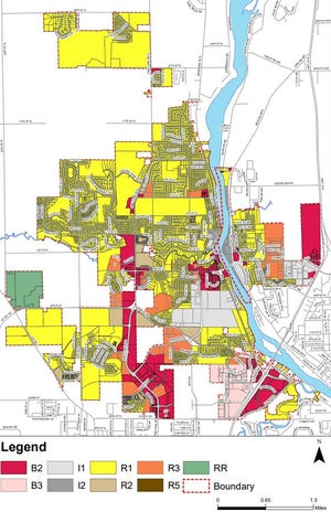 The proposed new zoning map of Sartell as it was presented to the council during a regular meeting Monday, Sept. 28, 2020.