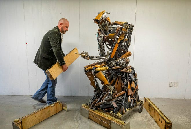 "David Fay's sculpture commissioned by Indecline titled ""On Second Thought,"" created in honor of the 58 Route 91 Oct. 1 victims, is shown by local artist David Fay in a warehouse in downtown Las Vegas on Monday, Sept. 21, 2020. (Elizabeth Page Brumley/Las Vegas Review-Journal via AP)"