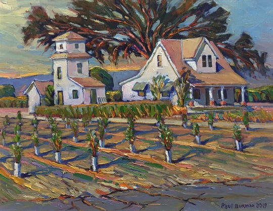 Arts Visalia is featuring two artists through October. Paul Buxton is a farmer-artist who uses an impressioniststyle to show the beauty of the San Joaquin Valley.