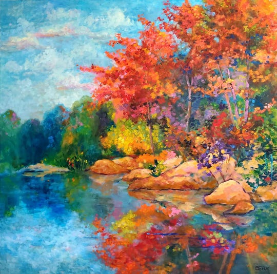 """The Brandon-Mitchell Gallery, has joined the virtual world with a show entitled """"Landscapes of the Soul"""" by Betty Berk. She calls her style """"expressionist fusion"""" and is known for her colorful paintings of nature."""