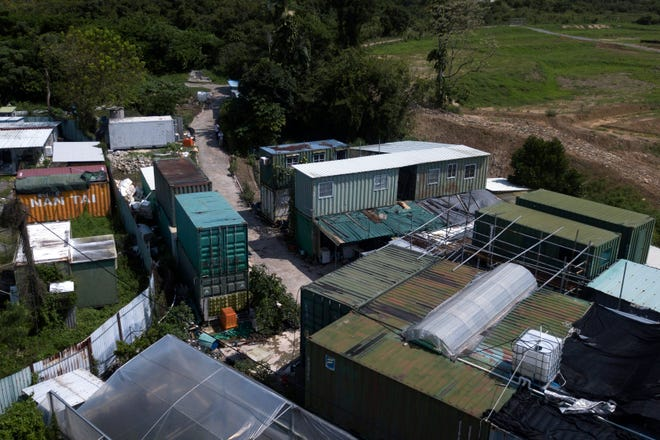 An aerial view of the shipping containers stacked on top of each other at the MoVertical Farm in Yuen Long, Hong Kong's New Territories Tuesday, Sept. 22, 2020. Operating on a rented 1,000 square meter patch of wasteland in the Hong Kong's rural area, Lee's MoVertical Farm utilizes around 30 of the decommissioned containers, to raise red water cress and other local vegetables hydroponically, which eliminates the need for soil.