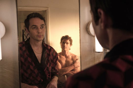 "Michael (Jim Parsons, left) harbors shame about being gay - and feelings for his friend, Donald (Matt Bomer) - in ""The Boys in the Band."
