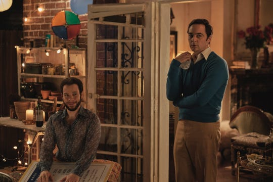 "Emory (Robin de Jesus, left) and Michael (Jim Parsons) attend the party from hell in Netflix's ""The Boys in the Band,"" an adaptation of the monumental gay play."