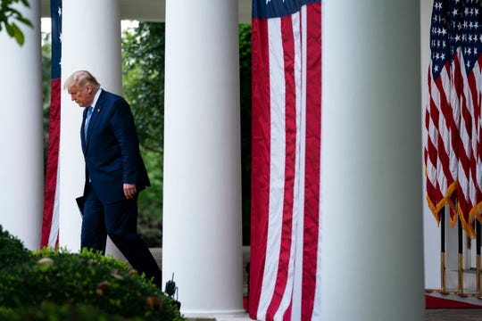 President Donald Trump arrives to speak about coronavirus testing strategy, in the Rose Garden of the White House, Monday, Sept. 28, 2020, in Washington. (AP Photo/Evan Vucci)