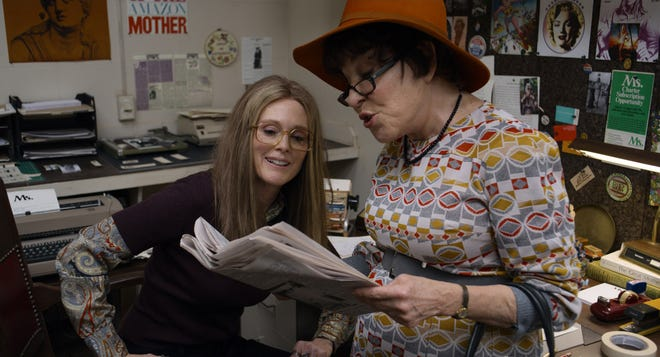"""Julianne Moore stars as journalist and feminist Gloria Steinem and Bette Midler is politician Bella Abzug in """"The Glorias,"""" directed by Julie Taymor."""
