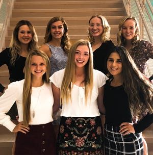 Homecoming court at West Branch includes, front row from left, Emma Egli, Riley Tuel and Destany Blake; and, back row from left, Jaci Thomas, Alaya Kiser, Gabby Harrison and Sidney Milliken.