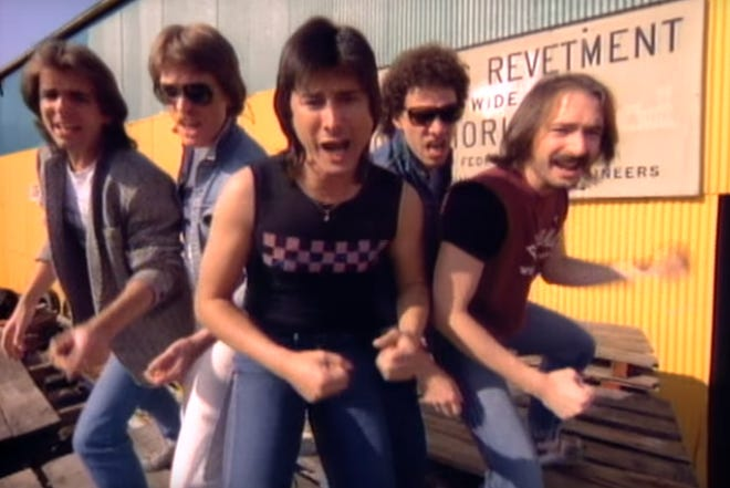 Journey, as seen in their early 1980s heyday, will be featured in a concert film shown at Chippewa Park.