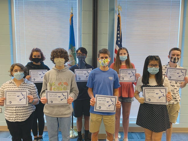 Bartlesville High School is proud to announce its Students of the Month for Aug. 13 to Sept. 15. Pictured are, front row, left to right, junior Julianna Ortiz, sophomore Gage Swanson, junior Morgan King and sophomore Joyce Yang. Back row, senior Jasmyne Mayes, freshman Mehdi Achour, freshman Kelsey Ward and senior Eli Winter.