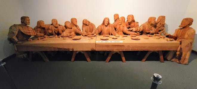 A carving of The Last Supper, now on display at the BibleWalk museum in Mansfield.