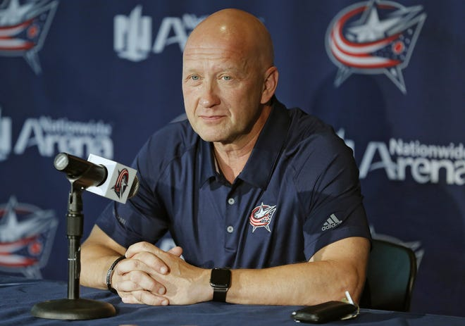 Blue Jackets GM Jarmo Kekalainen speaks to the media during media day at Nationwide Arena on September 11, 2019. [Kyle Robertson/Dispatch]