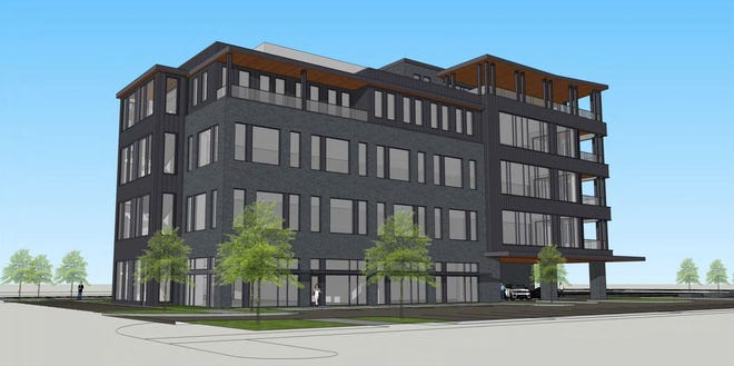 An office and hotel building is proposed by Trivium development firm for Worthington Gateway development at High Street and West Wilson Bridge Road in Worthington. [trivium development]