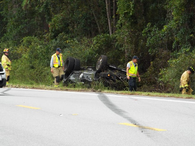 A three vehicle crash, including a large pickup that rolled over in a ditch on the side of the road at 879 N. U.S. Highway 17 in Pierson left a woman dead, the Florida Highway Patrol said. Witnesses at the scene said the woman was the occupant of the rolled over pickup.