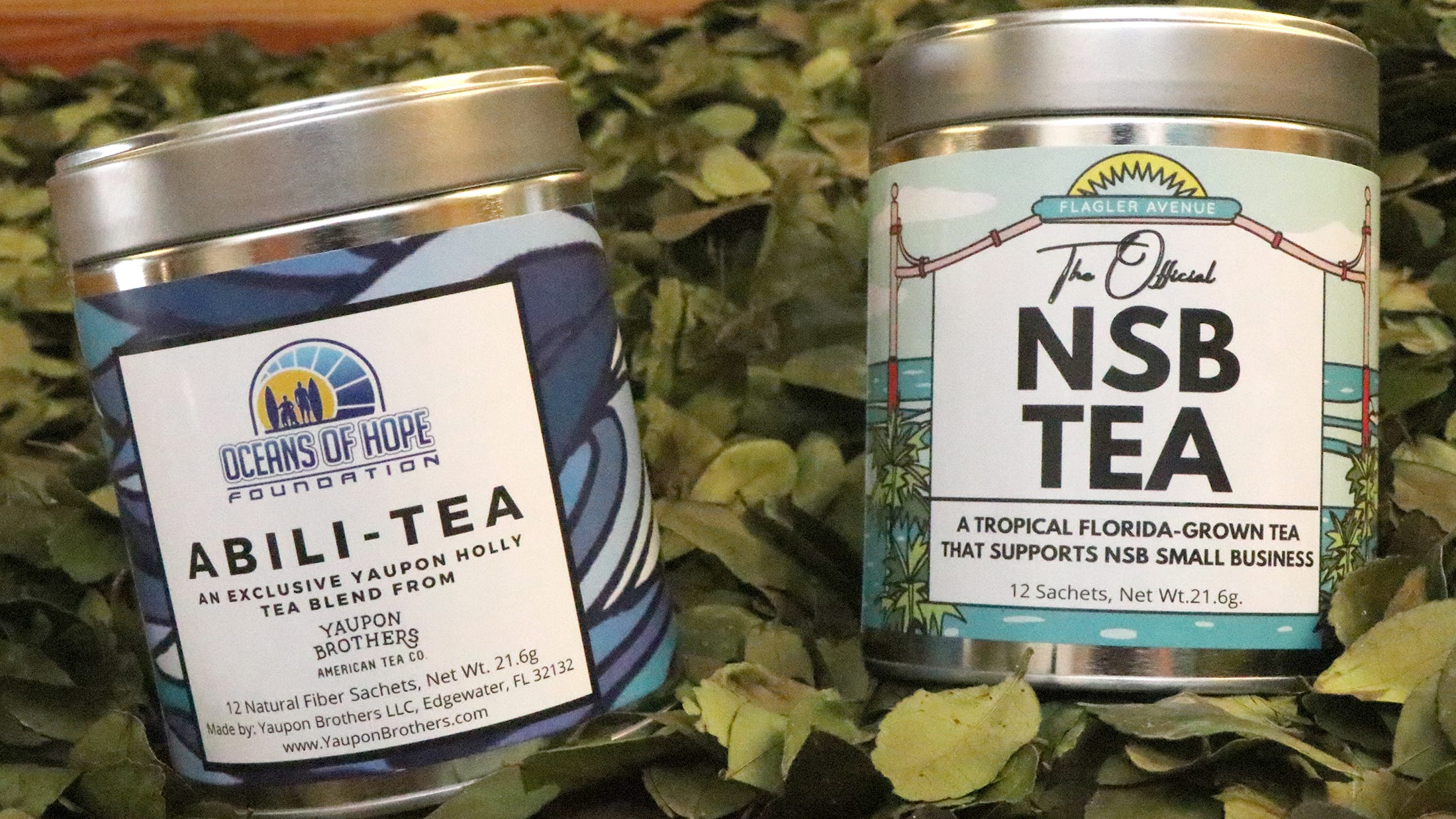 """A portion of sales from """"Abili-Tea,"""" and """"The Original NSB Tea"""" from the Yaupon Brothers American Tea Company will go to impacted local businesses."""