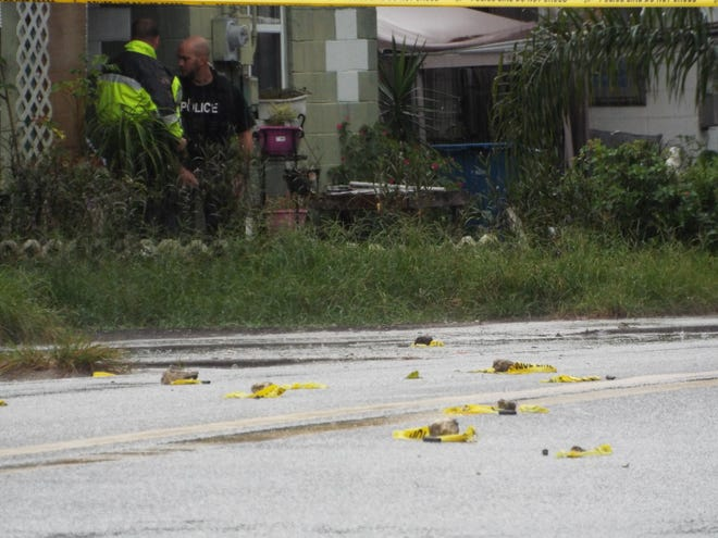 Volusia County deputies said a man and a woman were shot in a drive-by on Monday afternoon. Markers show where bullet casings littered the roadway on Clara Avenue near Carroll Avenue. The shooting was reported at 1016 S. Clara Avenue. [News-Journal/Patricio G. Balona]