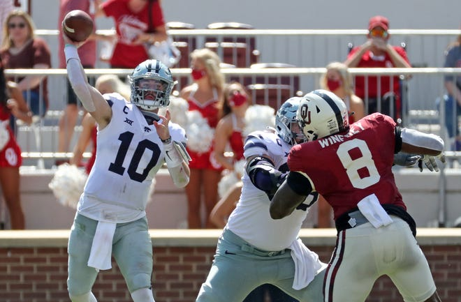 Kansas State quarterback Skylar Thompson (10), a Fort Osage High School graduate, throws a pass during Saturday's game against then No. 3-ranked Oklahoma.