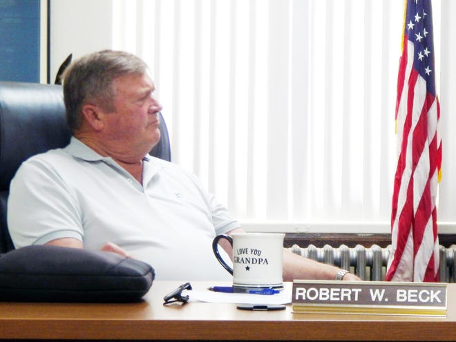 Des Moines County Supervisor Robert Beck is shown Tuesday at the weekly supervisor meeting in Burlington. Beck returned  after a two-week hiatus due to cataract surgery.
