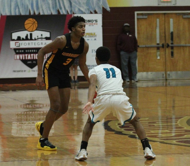 "West Nassau guard Dallan ""Deebo"" Coleman (3) prepares to dribble the basketball against Providence during the Fortegra High School 9:12 Invitational in December. Coleman, a top-40 national recruit, selected his three finalist colleges."