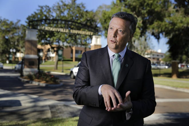 Jacksonville University President Tim Cost, photographed near the front entrance of JU in 2017, this week discussed a new partnership with SkillStorm.