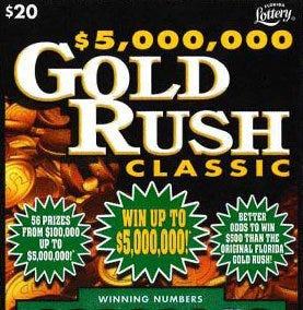 $5,000,000 Gold Rush Classic scratch-off ticket