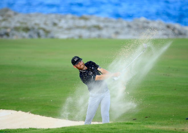 Tyler McCumber of Ponte Vedra Beach hits a bunker shot during last week's Corales Puntacana Championship in the Dominican Republic. McCumber finished second by one shot, his best career finish on the PGA Tour.
