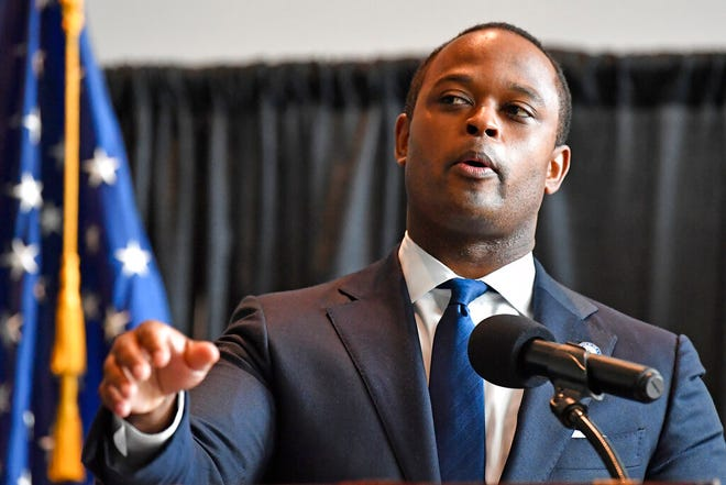 Kentucky Attorney General Daniel Cameron addresses the media following the return of a grand jury investigation into the death of Breonna Taylor, in Frankfort, Ky.,  Sept. 23, 2020. Of the three Louisville Metro police officers being investigated, one was indicted.