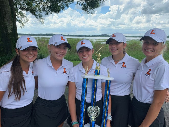 The Lakeland girls golf team won the Crutchfield/Hawkins tournament by 14 strokes on Monday in Avon Park. The members of the team are, from left, Kate Joyner, Arlynn Spence, Sydney Harrington, Analiese Raath and Jessica Kirkpatrick.