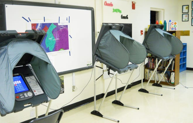 These are voting booths at Woodland Elementary School for the earlier August primary.