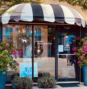 Colorful pots of bougainvillea welcome visitors to Rosa Estate Jewelry at 3723 S. Dixie Highway near Southern Boulevard in West Palm Beach. [Photo courtesy Rosa Estate Jewelry]