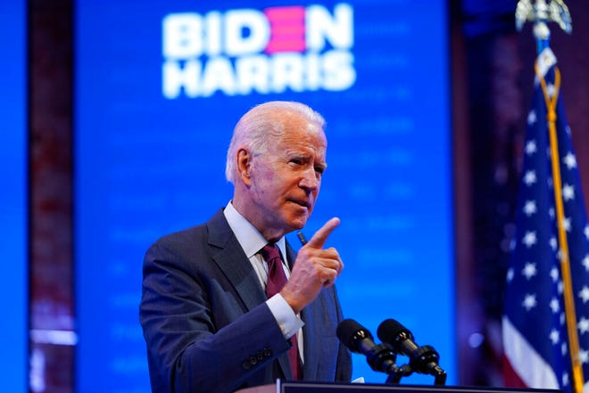 Democratic presidential candidate former Vice President Joe Biden gives a speech on the Supreme Court at The Queen Theater on Sunday in Wilmington, Del. (AP Photo/Andrew Harnik)