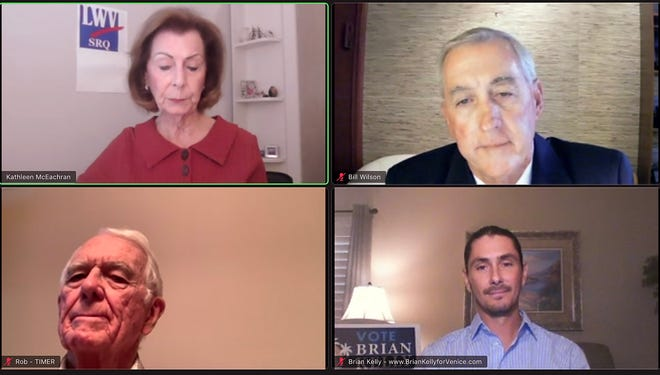 Bill Willson, top right, and Brian Kelly, bottom right, shared their views Tuesday night at the League of Women Voters candidate forum, hosted virtually on Zoom.