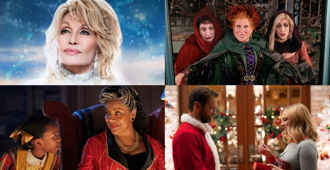 """Netflix's """"Christmas on the Square"""" (clockwise), """"Hocus Pocus,"""" Lifetime's """"Dear Christmas"""" and Netflix's Jingle Jangle"""" are among the old and new programming set to air this fall. [NETFLIX, DISNEY AND LIFETIME PHOTOS]"""
