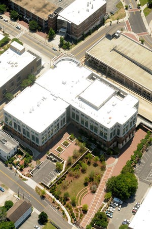 Aerial photo of the Campus of Cape Fear Community College in downtown Wilmington, N.C. June 23, 2015.