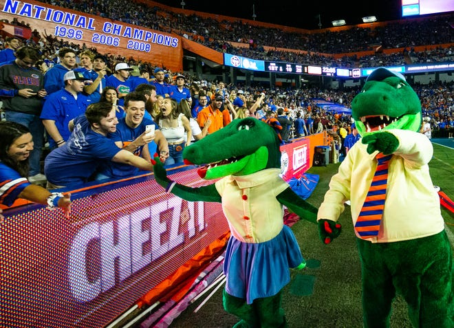 Alberta and Albert greet fans before the start of the game in this November 2019 file photo from Ben Hill Griffin Stadium.