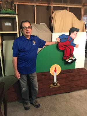 Tom Police works with Tuscora Park's Story Book Lane characters.