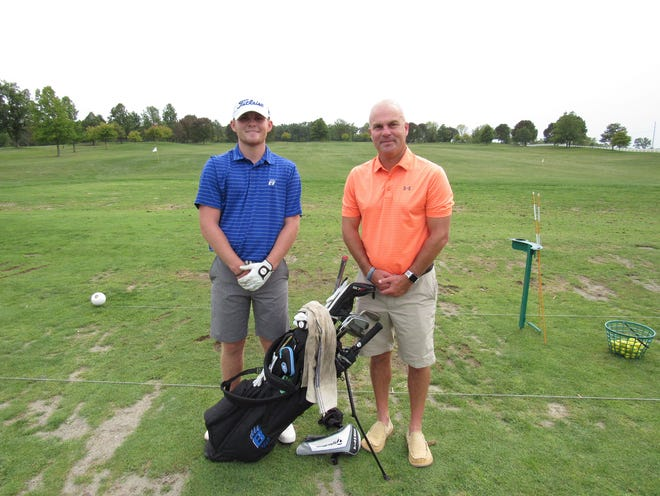 Senior Tison Alexander (left) led the Hilliard Bradley boys golf team with a 74.67 average in the OCC-Central Division tournament. The Tiffin recruit started playing golf before entering seventh grade to the delight of his father, Jack Alexander, who played at Marion Harding and learned the game from his father, David Alexander. Scott Hennen/ThisWeek