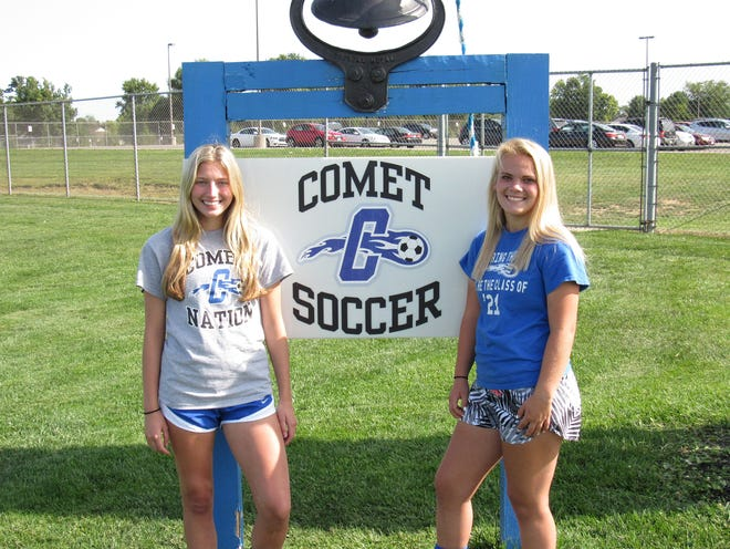 Seniors Emma Malkowski (left) and Emily Smits are enjoying their final season with the Central Crossing girls soccer team after overcoming injuries, as both players have suffered torn ACLs in both knees. The experience has helped them become better leaders for the Comets, who are 2-5-1 overall and 0-2 in the OCC-Buckeye.