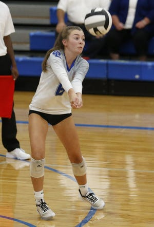 Kacey Hilvert and the Liberty girls volleyball squad are  battling first-place Orange for the OCC-Central title despite a few injuries to Patriots players.
