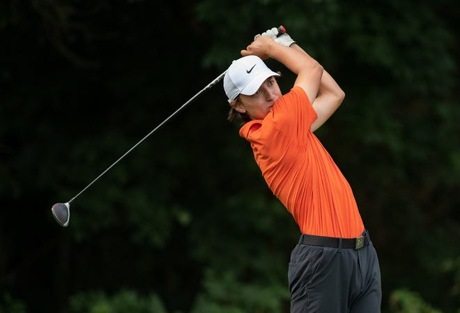 Orange's Nathan Brown follows a tee shot during the first round of the OCC-Central tournament Aug. 12 at Turnberry. Brown averaged 76 to earn honorable mention all-league honors for the Pioneers, who won the program's first league title.