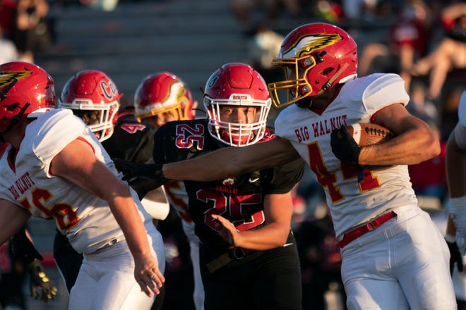 Big Walnut's Caden Williams (44) looks for running room Sept. 4 against Westerville South. Williams rushed for 180 yards and a touchdowns in a 20-17 loss to Westerville North on Sept. 25.