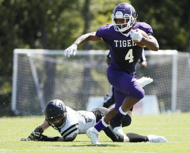 Pickerington Central's Nick Mosley has rushed for 446 yards and 12 touchdowns on 75 carries this season. The Tigers, the top-ranked team in the Division I state poll, will play at Reynoldsburg on Thursday, Oct. 1.
