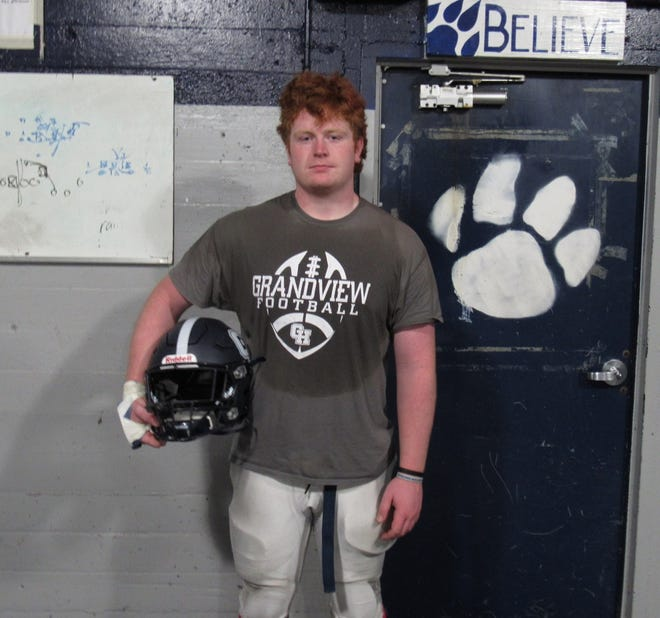 "Senior Matthew Taylor plays on the offensive and defensive lines as well as some linebacker and is a veteran voice for a young Grandview Heights football team. ""Matthew has such solid knowledge of the game, and he really gets it as a leader,"" coach Jason Peters said."